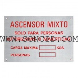 "LETRERO ""ASCENSOR MIXTO+CARGA+PERSONAS"" CAST"